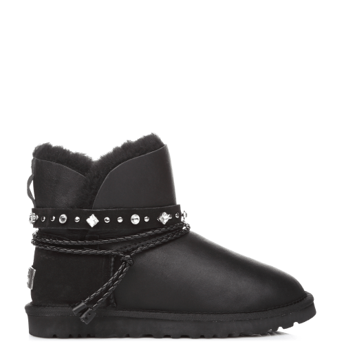 Угги UGG Australia Swarowski Strap Mini Leather Black купить в Киеве