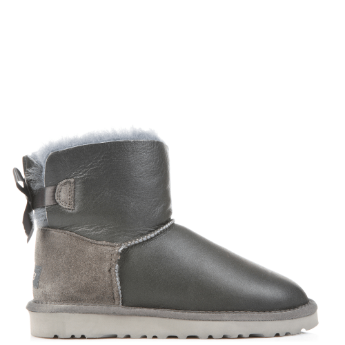 Угги UGG Australia Bailey Bow Mini Leather Grey купить в Киеве
