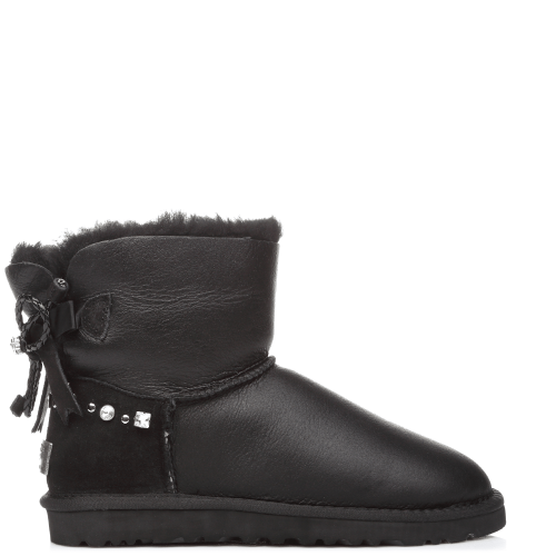Угги UGG Australia Bailey Bow Mini Leather Black I DO! купить в Киеве