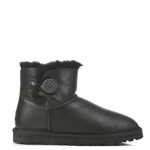 Угги UGG Australia Mini Bailey Button Leather Black купить в Киеве