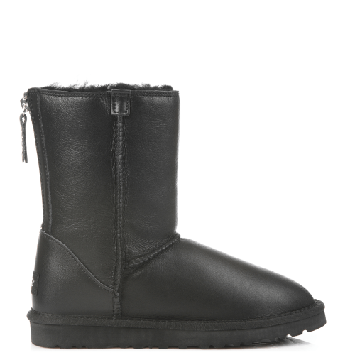 Угги UGG Australia Zip Short Leather Black купить в Киеве