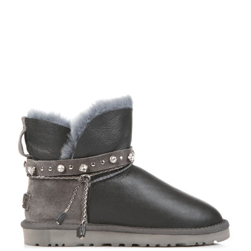 Угги UGG Australia Swarowski Strap Mini Leather Grey купить в Киеве