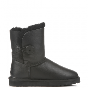 Угги UGG Bailey Button Leather Black