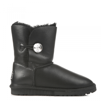 Угги UGG Bailey Button Bling Leather Black