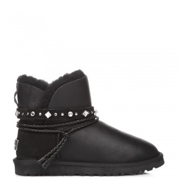 Угги UGG Swarowski Strap Mini Leather Black