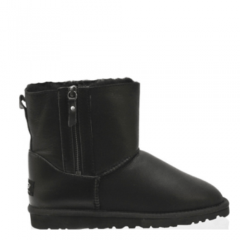 Угги UGG Shiny Mini Double Zip Metallic Black