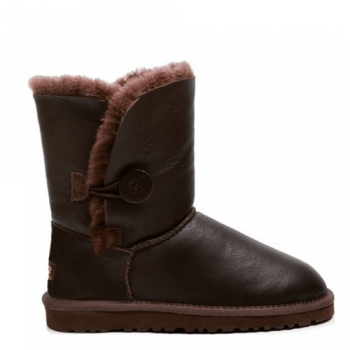 Угги UGG Bailey Button Leather Chocolate
