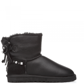 Угги UGG Bailey Bow Mini Leather Black I DO!