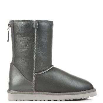 Угги UGG Zip Short Leather Grey