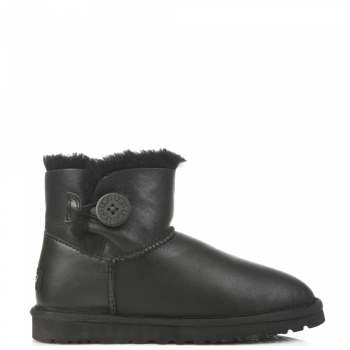 Угги UGG Bailey Button Mini Leather Black