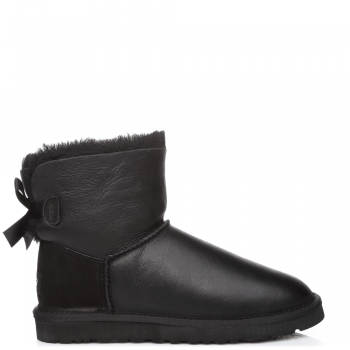 Угги UGG Bailey Bow Mini Leather Black